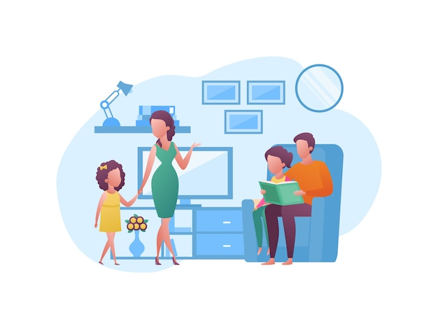 Illustration concept about spending vacation time with family at home