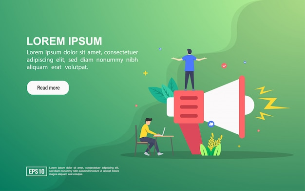 Illustration concept of advertising. landing page web template or online advertising