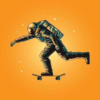 Illustration concept of astronaut skateboarding