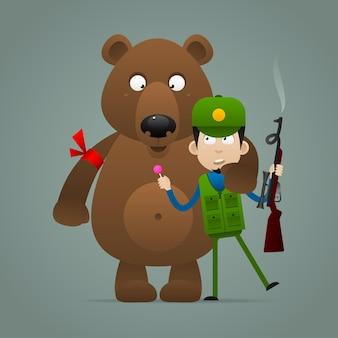 Иллюстрация, концептуальный медведь держит напуганного охотника, формат eps 10