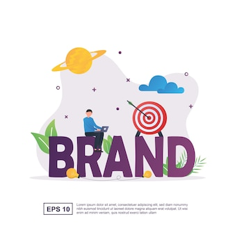 Illustration concept of branding with the person holding the laptop.
