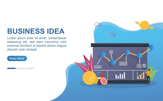 Illustration concept of business idea with bulb and target.