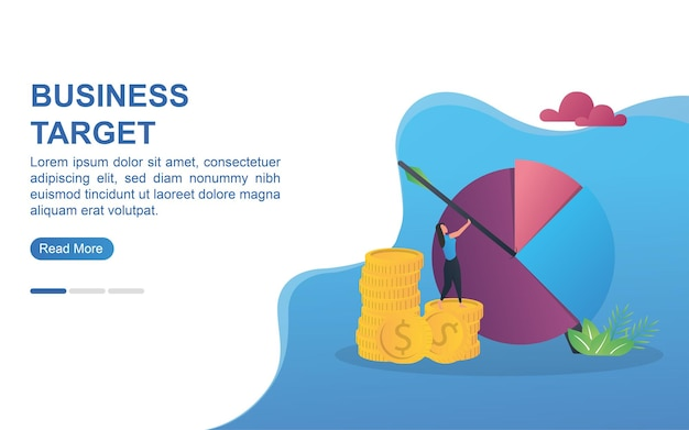 Illustration concept of business target with a large diagram target board.