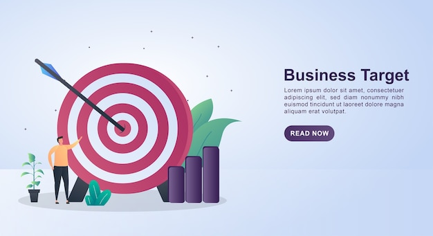 Illustration concept of business target with a large target board.