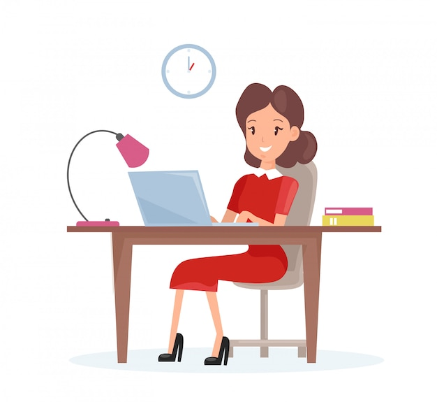 Illustration concept of business woman. happy woman is working on the laptop computer at the desk in cartoon flat style.