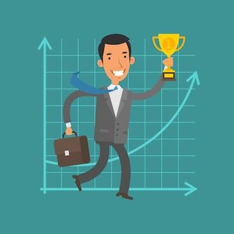 일러스트레이션, 개념 사업가 및 성공, 형식 eps 10