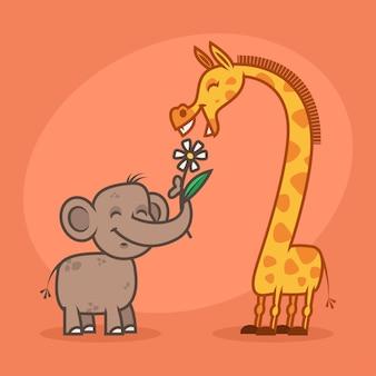 Иллюстрация, концепт, персонажи слона, цветка и жирафа, формат eps 10