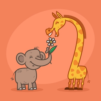 Illustration, concept, characters elephant flower and giraffe, format eps 10