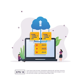 Illustration concept of cloud computing with laptop.