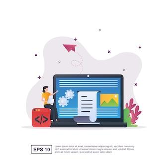 Illustration concept of content management system.