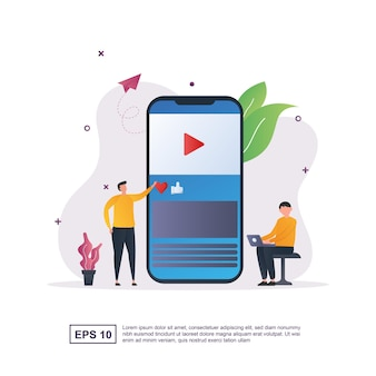 Illustration concept of content with a man leaning next to a smartphone.