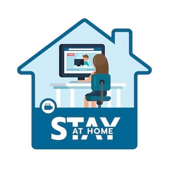 그림 개념 코로나 바이러스 covid 19. 여자는 화상 회의를 통해 팀과 함께 집에서 작업합니다. 집 아이콘을 유지하십시오.