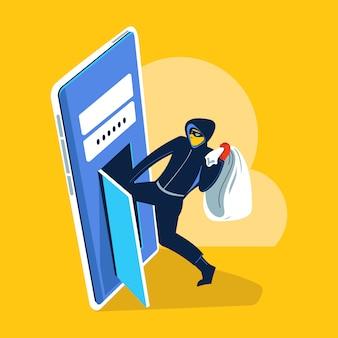 데이터를 훔치고 피싱을하는 해커의 그림 개념 사이버 범죄