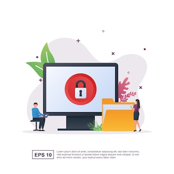 Illustration concept of data protection with a padlock and folder.