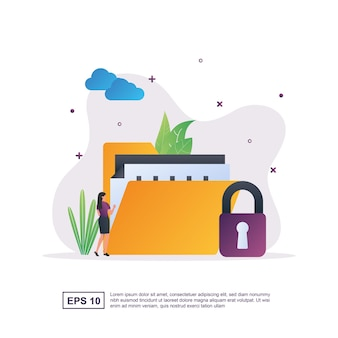 Illustration concept of data protection with the person with the padlock.