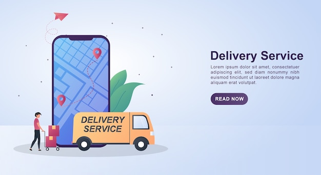 Illustration concept of delivery service with the person pushing the cardboard toward the car.