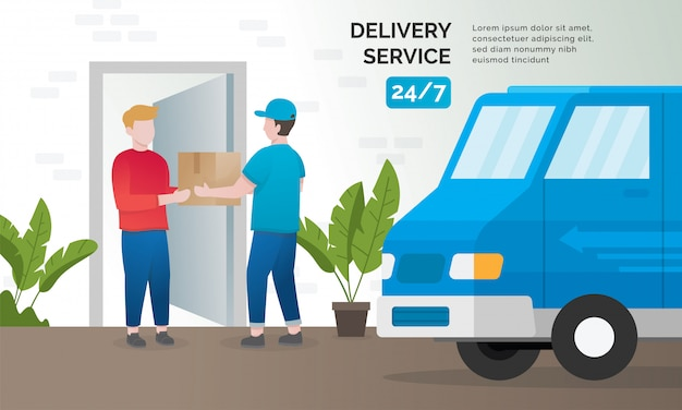 Illustration concept of delivery services