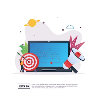 Illustration concept of digital marketing with the diagram on the screen and the person holding the target.
