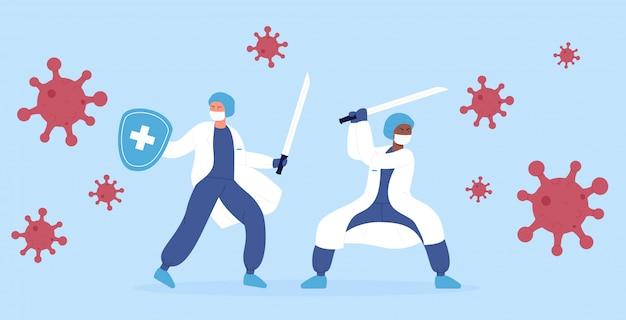 イラストのコンセプト。医師の医療医療専門家忍者チームは、刀を使用してコロナウイルスモンスターのパンデミックと戦っています。