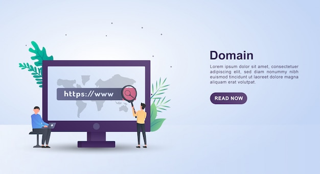 Illustration concept of domain with people holding a magnifying glass.