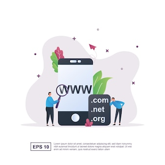 Illustration concept of domain with the person pointing at the screen.