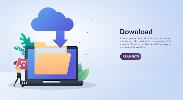 Illustration concept of download with cloud download.