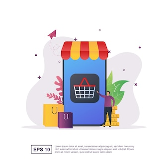 Illustration concept of e-commerce with the person pressing the shopping button.