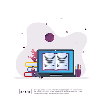 Illustration concept of e-learning with people reading books online on laptops.