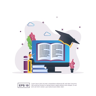 Illustration concept of e-learning with people reading books that are on the computer.
