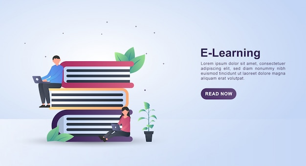 Illustration concept of e-learning with people sitting on books holding laptops.