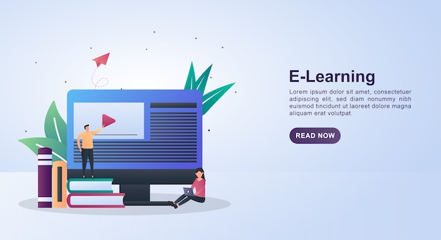 Illustration concept of e-learning with a person standing on a pile of books.