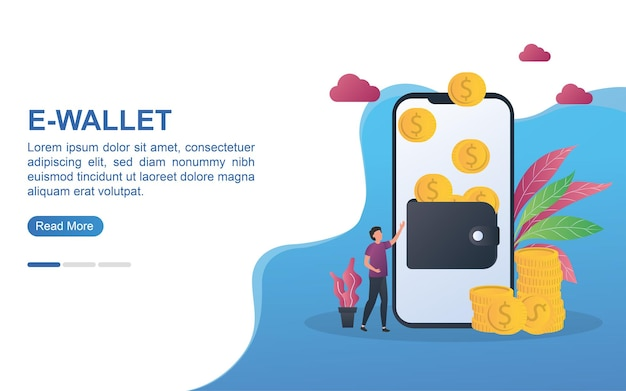 Illustration concept of e-wallet with a wallet filled with wallet on the screen and coins.