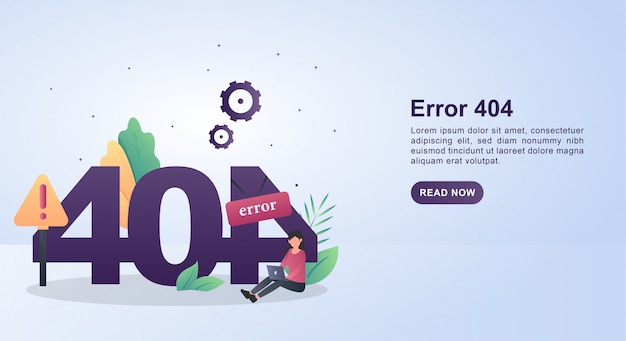 Illustration concept of error 404 with a person holding a laptop.