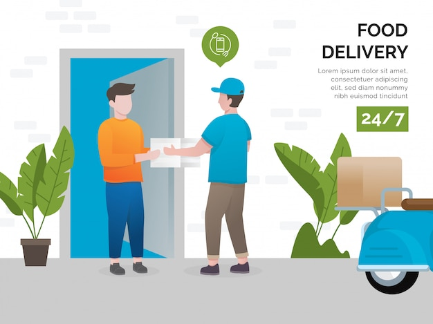 Illustration concept of food delivery services