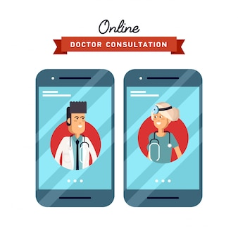 Illustration of concept of form  on hand holding mobile phone with medical assistance and doctor consultation online