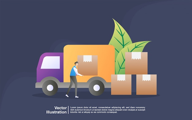 Illustration concept of free delivery. online delivery service concept