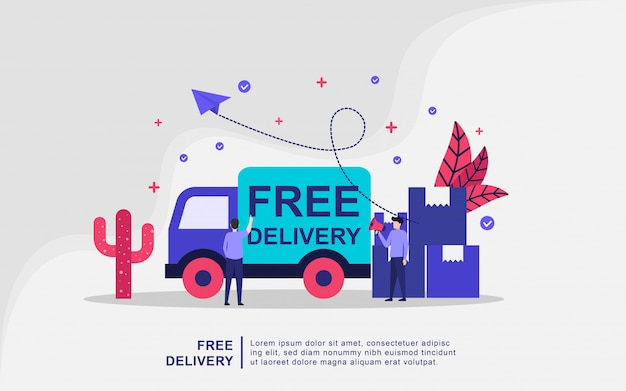 Illustration concept of free delivery