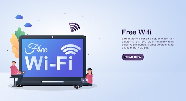 Illustration concept of free wifi with people sitting enjoying free wifi.