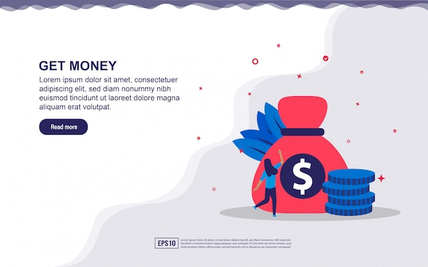 Illustration concept of get money. get bonus, business profit.