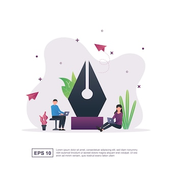 Illustration concept of graphic design by using the big pen tool.