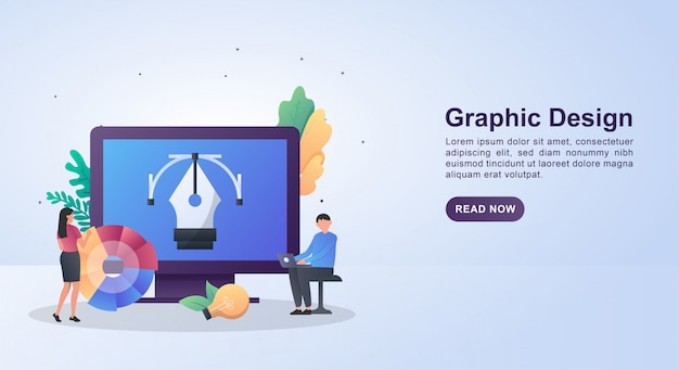 Illustration concept of graphic design with pen tool inside the screen.