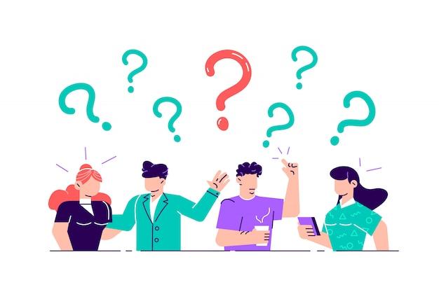 図。疑問符の周りのよくある質問の人々の概念図。質問の比喩への回答-。 webページ、ソーシャルメディアのフラットスタイルのイラスト。