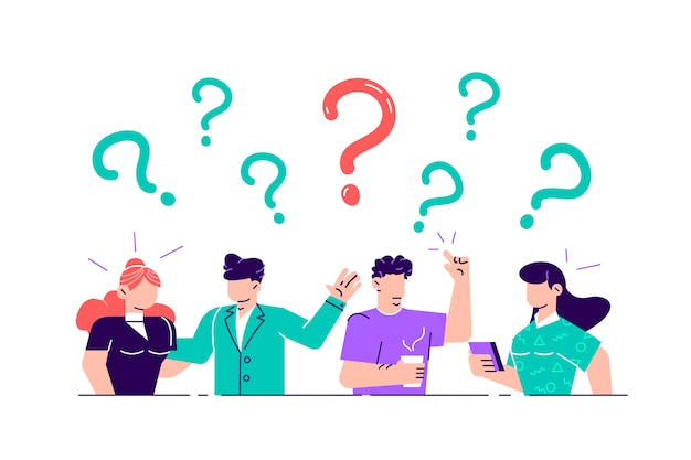 Illustration. concept illustration of people frequently asked questions around question marks. answer to question metaphor -  . flat style  illustration for web page, social media.