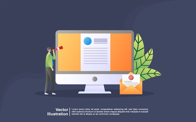 Illustration concept of job hiring. businessman and women open recruitment, searching talent, resume.