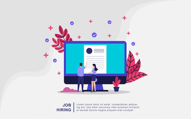 Illustration concept of job hiring. businessman and women open recruitment