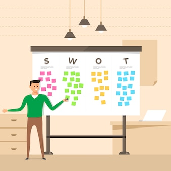 Illustration concept the man present with whiteboard analyze swot.  illustrate.