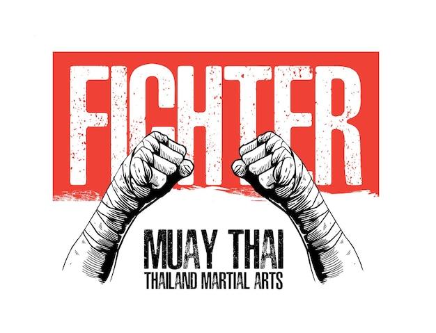 Illustration concept of muay thai martial arts