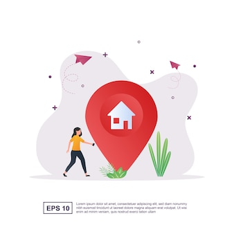 Illustration concept of navigation with people walking looking for addresses.