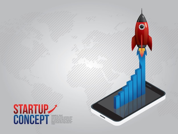 Illustration concept for new business project start up rocket and clouds