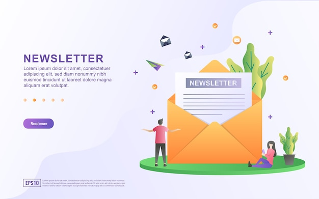 Illustration concept of newsletter with people reading the newsletter for banner